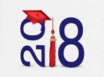 De rode graduatie GLB van 2018 met donkerblauwe teksten Stock Afbeeldingen