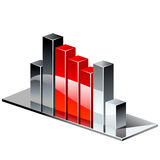 De rode grafiek van het chroom. Stock Fotografie