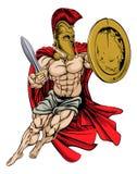 De rode Griekse Strijder van Caped Stock Foto