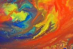 De rode, groene, blauwe, gele kleuren mengden vloeibare macro Royalty-vrije Stock Afbeelding
