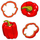 De rode groene paprika met plakken stock foto