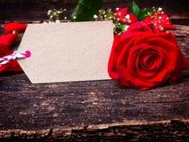 De rode groetkaart, nam toe Royalty-vrije Stock Afbeelding