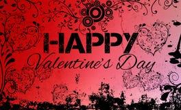 De rode Grungy Gelukkige Kaart van de Valentijnskaartendag Stock Afbeeldingen
