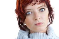 De rode haired vrouw van het portret stock afbeelding