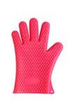 De rode handschoen van de siliciumkeuken die op wit wordt geïsoleerd Stock Fotografie