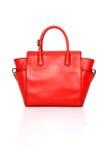 De rode handtas van leerdames stock foto