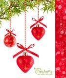 De rode hart-vormige ballons van Kerstmis Royalty-vrije Stock Fotografie