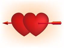 De rode harten en pijl van de Cupido Stock Afbeelding