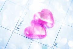 De rode harten op 14 Februari van Valentijnskaarten Stock Foto