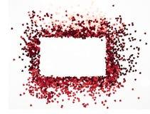 De rode harten schitteren kader met witte achtergrond, valentijnskaart, liefde, huwelijk, huwelijksconcept Stock Foto