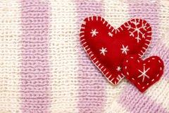 De rode harten van Kerstmis Stock Fotografie