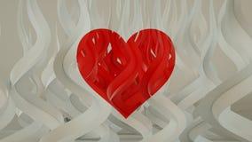 De rode hartprojectie op gebogen 3D vormen geeft terug royalty-vrije illustratie