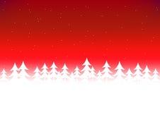 De rode hemel van de kerstboomsneeuw Stock Fotografie