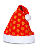De rode hoed van de Kerstman die op wit wordt geïsoleerdE Royalty-vrije Stock Afbeeldingen