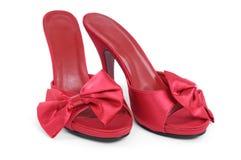 De rode Hoge Pantoffels van de Hiel Stock Foto