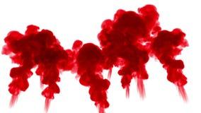 De rode inkt lost in water op witte achtergrond met lumasteen op 3d geef van computersimulatie terug De inkt spuit in water in stock video