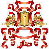 De rode Inzameling van Banners met Gouden Schild vector illustratie