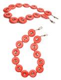 De rode Juwelen van de Halfedelsteen van het Koraal en van het Koper Royalty-vrije Stock Afbeelding