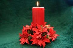 De rode kaars van Kerstmis. Stock Afbeeldingen
