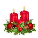 De rode Kaarsen van Kerstmis Vector illustratie Stock Foto