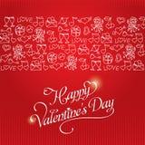 De rode Kaart van de de Daggroet van Valentine ` s met een patroon Royalty-vrije Stock Afbeelding