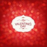 De rode Kaart van de Valentijnskaartendag met Bokeh Royalty-vrije Stock Afbeeldingen