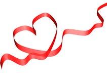 De rode kaart van het valentijnskaartlint Royalty-vrije Stock Afbeelding