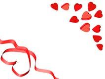 De rode kaart van het valentijnskaartlint Stock Afbeelding