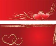 De rode kaarten van de liefdegroet Stock Fotografie