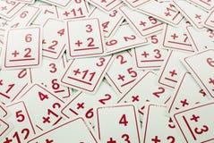 (De rode) Kaarten van Math van de toevoeging stock afbeelding