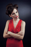 De rode kleding van het meisje Stock Foto's