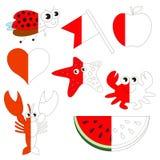 De rode Kleur heeft bezwaar, het grote jong geitjespel dat door voorbeeld half moet worden gekleurd stock illustratie