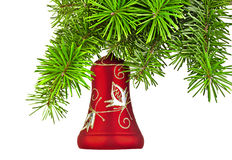 De rode klok van Kerstmis op nieuwe jaarboom Stock Foto's