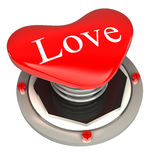 De rode knoop in de vorm van harten, houdt van 3d concept Stock Afbeeldingen