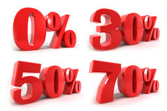 De rode korting van aantalpercenten isoleert op witte achtergrond Royalty-vrije Stock Fotografie