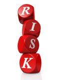 De rode kubussen of dobbelen spellingsRISICO Stock Foto
