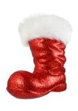 De rode laars van de kerstman op wit Royalty-vrije Stock Afbeelding