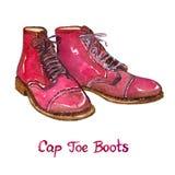 De rode laarzen van de leerglb teen Stock Foto's