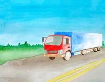 De rode ladingstractor voert ladingen op een asfalt grijze weg met in twee ononderbroken stegen watercolor De ruimte van het exem stock foto