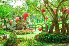 De Rode lantaarns die in de tuin met bomen en groen gras hangen Royalty-vrije Stock Foto