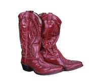 De rode Leer Versleten Laarzen van het Land Stock Foto's