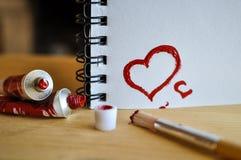 De rode Liefde van het Hart Van de kunst de olie (acryl) verven De dag van de valentijnskaart stock foto's