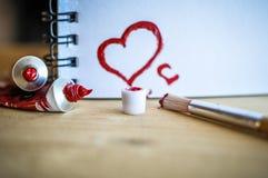 De rode Liefde van het Hart Van de kunst de olie (acryl) verven De dag van de valentijnskaart stock afbeelding