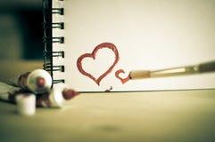 De rode Liefde van het Hart Van de kunst de olie (acryl) verven De dag van de valentijnskaart stock foto