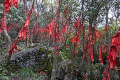 De rode linten tianmen berg Stock Foto's
