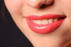 De rode lippen van de vrouw stock afbeelding