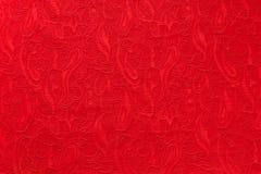 De rode mooie etnische stof van overladen Paisley Stock Fotografie