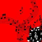 De rode Muziekachtergrond betekent het Stuk en de Nota's van Soundwaves Royalty-vrije Stock Afbeelding
