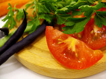 De rode oranje wortel van de tomatenslaboon Royalty-vrije Stock Foto's