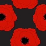 De rode Papavers bloeien Naadloze Patroonachtergrond Stock Afbeeldingen